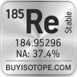 185re isotope 185re enriched 185re abundance 185re atomic mass 185re