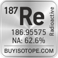 187re isotope 187re enriched 187re abundance 187re atomic mass 187re
