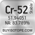 cr-52 isotope cr-52 enriched cr-52 abundance cr-52 atomic mass cr-52