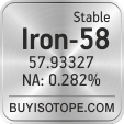 iron-58 isotope iron-58 enriched iron-58 abundance iron-58 atomic mass iron-58