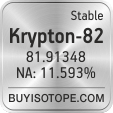 krypton-82 isotope krypton-82 enriched krypton-82 abundance krypton-82 atomic mass krypton-82