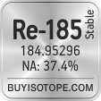 re-185 isotope re-185 enriched re-185 abundance re-185 atomic mass re-185