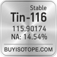 tin-116 isotope tin-116 enriched tin-116 abundance tin-116 atomic mass tin-116