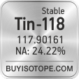 tin-118 isotope tin-118 enriched tin-118 abundance tin-118 atomic mass tin-118