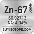 zn-67 isotope zn-67 enriched zn-67 abundance zn-67 atomic mass zn-67