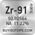 zr-91 isotope zr-91 enriched zr-91 abundance zr-91 atomic mass zr-91