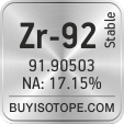 zr-92 isotope zr-92 enriched zr-92 abundance zr-92 atomic mass zr-92